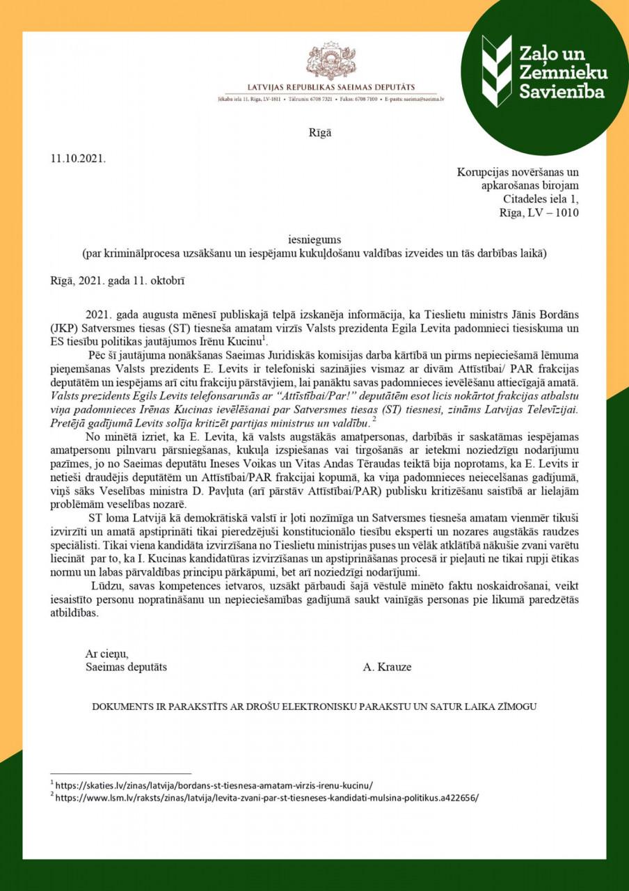 Iesniegums KNAB par Valsts prezidenta Egila Levita padomnieces Irēnas Kucinas virzīšanas procesu Satversmes tiesas (ST) tiesneša amatam